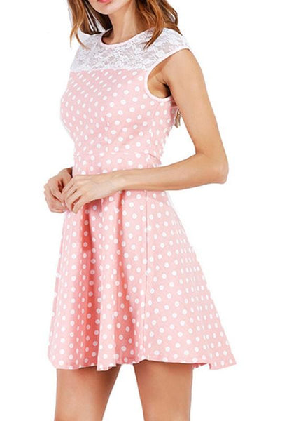 Casual Pink Polka Dot Cut Out Round Neck Fashion Mini Dress