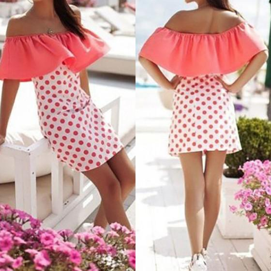 Casual Pink Polka Dot Pleated Short Sleeve Casual Polyester Mini Dress