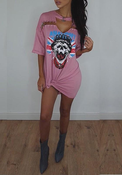 Casual Pink Graphic Rock Skull Print Cut Out Saftey Pin Detail T-Shirt Mini Dress