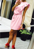 ByChicStyle Casual Pink Single Breasted Ruffle Drawstring Oversize Cute Mini Dress