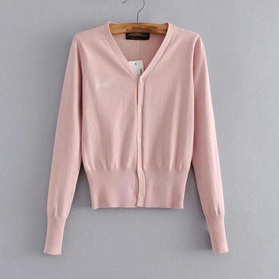 Casual Pink Single Breasted V-neck Casual Cotton Cardigan Sweater