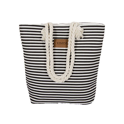 Casual Girl Casual Summer Canvas Shopping Handbag Shoulder Bag Striped Beach Large Bags