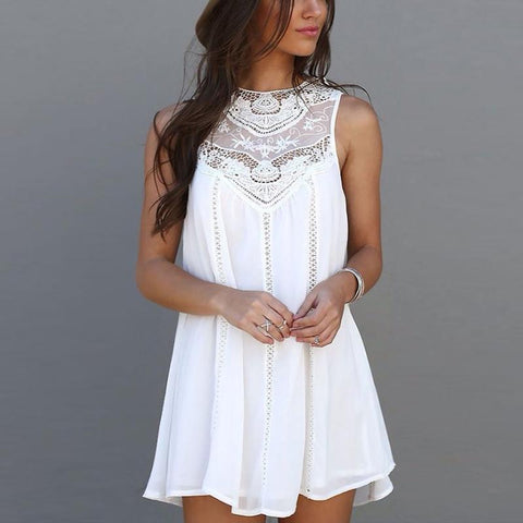 Mini Sleeveless Casual Lace Dresses for Woman