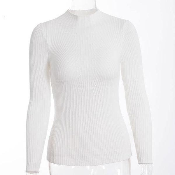 Women Pullovers Turtleneck Knit Shirt Long Sleeve Stretched Solid Jumper Sweater Tops
