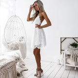 Backless Spaghetti Strap Sexy Lace Dress Women Sleeveless V-Neck Loose Summer Dress Cotton Black Elegant Party Dresses