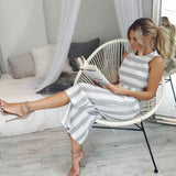 Women's Sleeveless Striped Jumpsuit Casual Loose Trousers Fashionable Leotard Catsuit Combinaison Wide Leg Pants