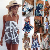 Women Plus size Off Shoulder Print Beach Jumpsuit Romper Sleeveless Short Overalls Sexy Backless Summer Playsuit