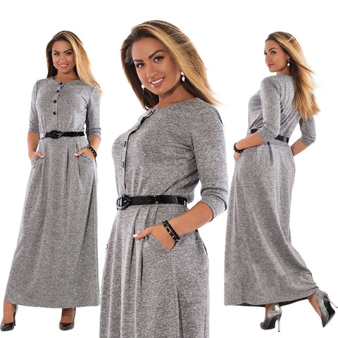 Autumn Winter Dress Big Size Elegant Long Sleeve Maxi Dress Women Office Work Dresses Plus Size
