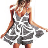 Women Strapless Playsuit Striped Rompers Ruffles Sleeve Jumpsuit Backless Casual Beach Short Pants