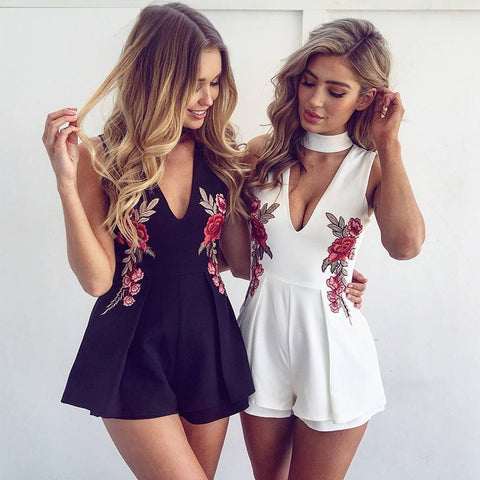 Summer Floral Embroidery Women Sleeveless Bodysuit Elegant Rompers Short Jumpsuit Black Playsuit