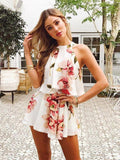 ByChicStyle 25 Styles Floral Print Chiffon Playsuit Off Shoulder Halter Sleeveless Boho Beach Party Rompers Jumpsuit