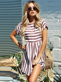 ByChicStyle Summer Beach A-Line Striped Short Sleeve O-Neck Print Pink Sundress Mini Dress