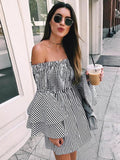 ByChicStyle Womens Holiday Off Shoulder Stripe Party Ladies Dress Long Sleeve Boho Dress
