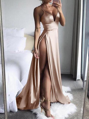 Sexy Solid High-Split Long Sleeveless Evening Party Clubwear Maxi Dresses