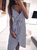 ByChicStyle Women Stripe Printing Sleeveless Off Shoulder Evening Party Vest Sashes Dress