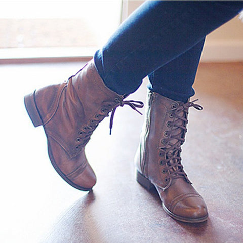 Autumn And Winter Women Vintage Boots Short Tube Shoes Leather Military Boots Flat  Ankle Boots