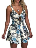 ByChicStyle Beach Lace Up Sleeveless Floral Print Short Bodycon Party Playsuit Jumpsuit Rompers