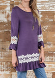 ByChicStyle Casual Purple Patchwork Lace Round Neck Fashion Polyester Mini Dress