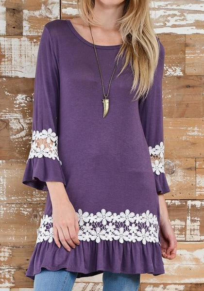 Casual Purple Patchwork Lace Round Neck Fashion Polyester Mini Dress
