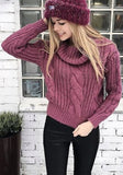 ByChicStyle Casual Purple Plain Ruffle Collar Fashion Loose Pullover Sweater