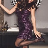 ByChicStyle Casual Purple Plain Sequin Sleeveless Bodycon Club Mini Dress