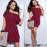 ByChicStyle Casual Red Asymmetric Shoulder Short Sleeve Casual Oversize Mini Dress