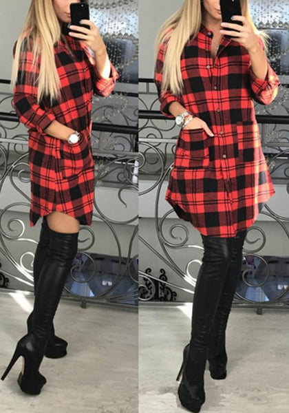 Red-Black Patchwork Tartan Plaid Irregular Pockets All-match Band Collar Long Sleeve Mini Dress