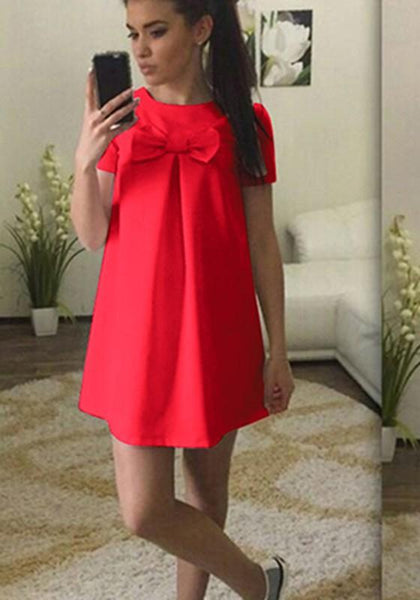 Casual Red Bow Draped Round Neck Short Sleeve Above Knee Mini Dress