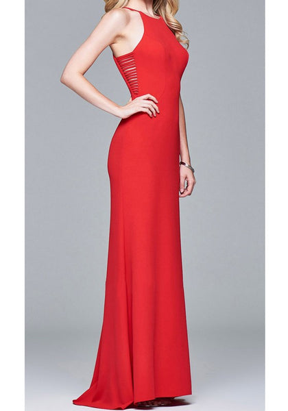 Casual Red Cut Out Draped Zipper Round Neck Sleeveless Maxi Dress