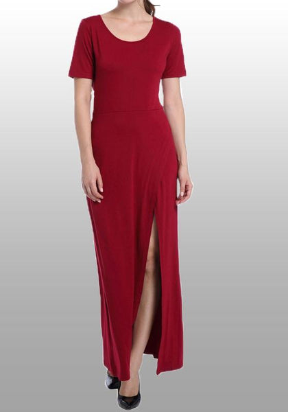 Casual Red Draped Side Slit Round Neck Short Sleeve Maxi Dress