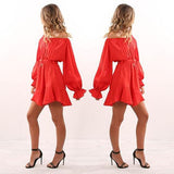 ByChicStyle Casual Red Drawstring Pleated Irregular Off Shoulder Casual Mini Dress