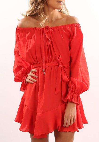 Casual Red Drawstring Pleated Irregular Off Shoulder Casual Mini Dress