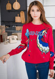 ByChicStyle Casual Red Fish Embroidery Sweet Pullover