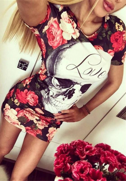 Casual Red Floral Cut Out Round Neck Fashion Mini Dress