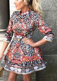 ByChicStyle Casual Red Floral Draped Band Collar 3/4 Sleeve Polyester Mini Dress