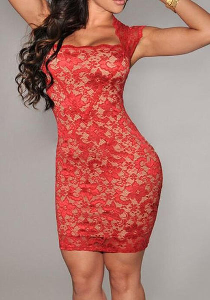 Casual Red Floral Lace Hollow-out See-through Square Neck Cap Sleeve Bodycon Mini Dress