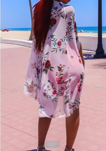 Casual Red Floral Print Patchwork Deep V-neck Chiffon Fashion Mini Dress