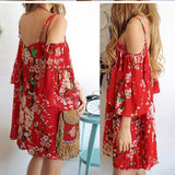 ByChicStyle Casual Red Floral Print Ruffle Spaghetti Strap Backless Off-shuolder Bohemian Mini Dress
