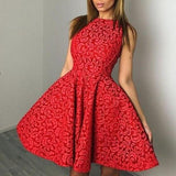 ByChicStyle Casual Red Floral Pleated Tutu Homecoming Party For Teens Fashion Mini Dress