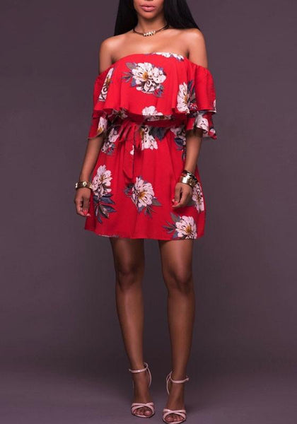 Casual Red Flowers Print Ruffle Drawstring Backless Off Shoulder Bohemian Mini Dress