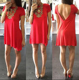 ByChicStyle Casual Red Irregular Round Neck Short Sleeve Casual Mini Dress