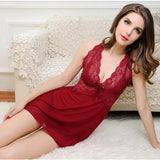 ByChicStyle Casual Red Lace V-neck Sleeveless Casual Mini Dress
