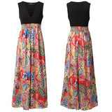 ByChicStyle Casual Red Patchwork Flowers Print Draped Deep V-neck Sleeveless Bohemian Maxi Dress