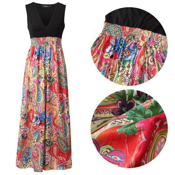 Casual Red Patchwork Flowers Print Draped Deep V-neck Sleeveless Bohemian Maxi Dress