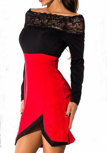 Casual Red Patchwork Lace Boat Neck Knit Mini Dress