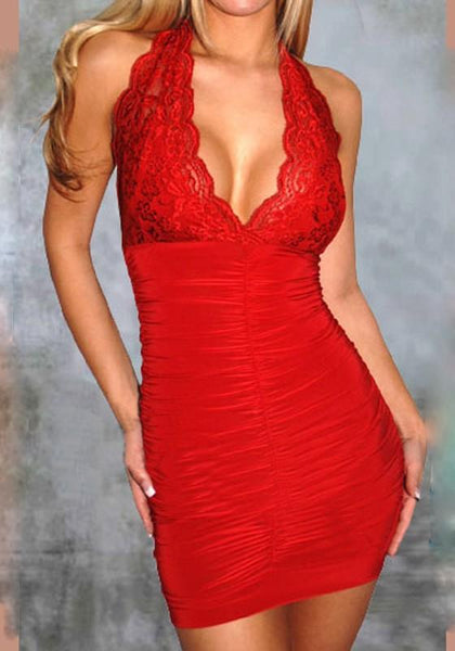 Casual Red Patchwork Lace Cut Out Plunging Neckline Sleeveless Mini Dress