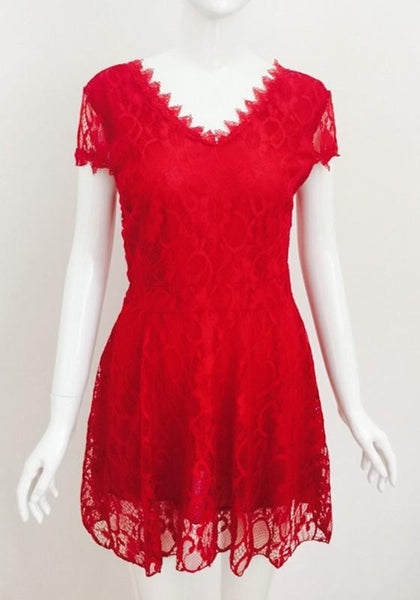Casual Red Patchwork Lace Hollow-out Pleated Plunging Neckline Mini Dress