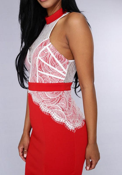 Casual Red Patchwork Lace Hollow-out Zipper Mini Dress