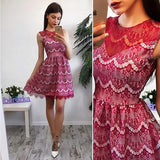 ByChicStyle Casual Red Patchwork Lace Round Neck Sleeveless Party Mini Dress