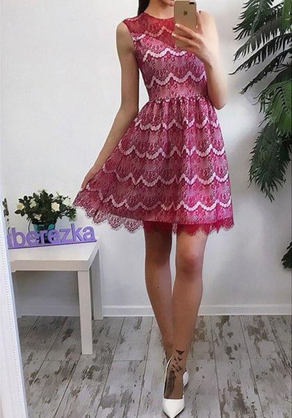 Casual Red Patchwork Lace Round Neck Sleeveless Party Mini Dress